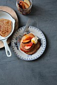 Pancakes with apple and plum compote