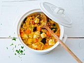 Red lentils with vegetables and sheep's cheese