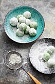 Matcha truffle pralines with white chocolate