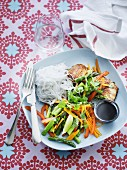Salmon with rice noodles and vegetables (Asia)