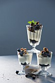 Blueberry and buttermilk deserts with pumpernickel crumbles