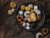 A plate of assorted Christmas biscuits