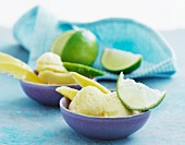 Mango and lime sorbet in two bowls