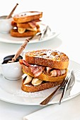 French toast with bacon, bananas and maple syrup