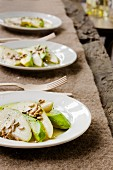Avocado salad with pears and sunflower seeds