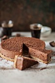 Sliced chocolate cheesecake