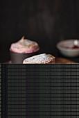 Mini raspberry soufflés in baking moulds