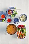 Thai chicken fondue