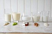 Various types of vegan milk in glasses