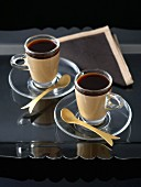 Coffee cream in two glass cups