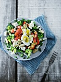 Broccoli salad with boiled eggs and strawberries