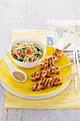 Teriyaki chicken skewers with a mie noodle salad (Japan)