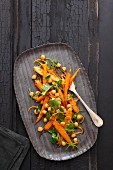 Oriental chickpea salad with braised baby carrots and fresh coriander