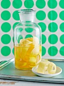 Lemon peel for lemon iced tea in a glass container