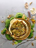 Oyster mushroom tart with walnuts