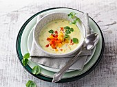 Spicy kefir soup with peppers and fresh herbs