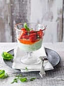 Yoghurt and basil mousse with strawberries