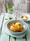 Apricots and cardamom sorbet with mint