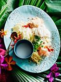 Ingredients for oriental Kha Nhom Sao Nahm
