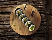 Futomaki sushi with mange tout, avocado and cucumber
