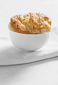 Crab soufflé in a white porcelain bowl