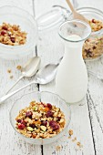 Muesli with marmalade, ginger, dried cranberries and milk