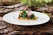Chard tart with a chanterelle mushroom sauce