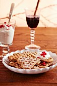Mulled wine waffles with lingonberry cream