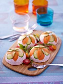 Chartreuse with ham and cream cheese garnished with vegetables