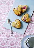 Heart-shaped berry muffins