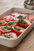 Oven-roasted tomatoes being prepared