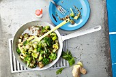 Green vegetable stir-fry with broccoli and quinoa