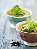 Curry soup with black sesame seeds and coriander (Thailand)