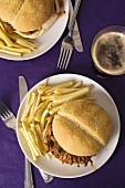 Pulled pork sandwiches with parsnip fries