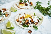 Tacos with sweet potatoes, fried egg, cheese and coriander