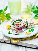 Chicken souflaki skewers with herbs and lemons