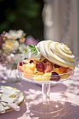Fruit salad topped with meringue on a garden table