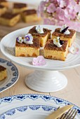 Apricot cake with vanilla pudding and apricot liqueur