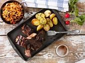 Beef ribs with roast potatoes