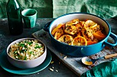 Chicken tagine with pumpkin and almond pilau
