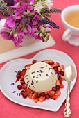 Lavender panna cotta on a summer table outside