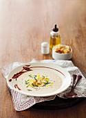 Cream of cauliflower soup with smoked fish