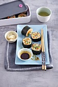 Quinoa sushi with salmon and vegetables