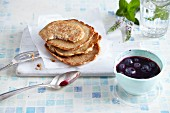 Power pancakes with blueberry syrup