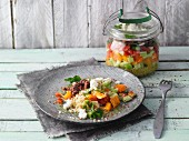 Layered Turkish bulgur and minced meat salad in a jar