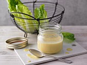 A jar of mustard vinaigrette