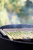 Green asparagus on a barbecue