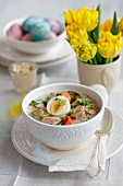 Zurek (Polish ryemeal soup) with sausage and egg for Easter