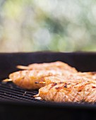 Salmon steaks on a barbecue