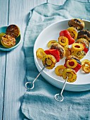 Grilled potato, peppers and mushrooms and skewers
